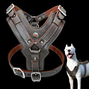 Genuine Leather Dog Harness Heavy Duty for Large Breeds Rottweiler Boxer Pitbull