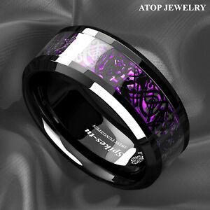 Black Dragon Purple Carbon Fiber Tungsten Ring for Men Wedding Band ATOP Jewelry
