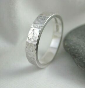 Sterling Silver 4mm Wide Hammered Sparkly Textured Ring Sizes H - Z Handmade UK