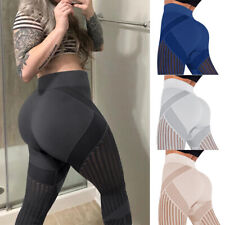 Women High Waist Hollow out Leggings Push up Anti Cellulite Ruched Yoga Pants US