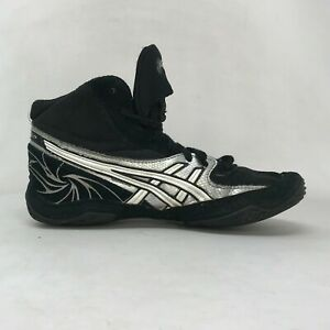 Asics Boys Cael V4.0 C920Y Black Silver Wrestling Shoes Lace Up Mid Top Size 4