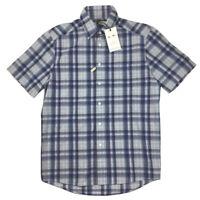 RM Williams Mens Hervey Short Sleeve Blue Check Regular Fit Shirt Size S NEW
