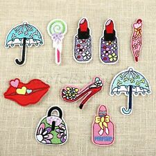 10pc Fabric Umbrella Bag Lip High Heel Embroidered Patches Sewing Iron on Badge