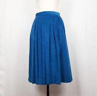 Vintage 80s Midi Skirt Turquoise Blue Corduroy Misses M Country Suburbans