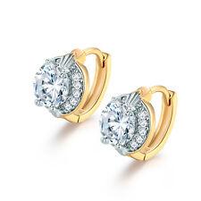 Elegant White & Yellow Gold Filled Huggies Clear Sapphire Topaz Women Earrings