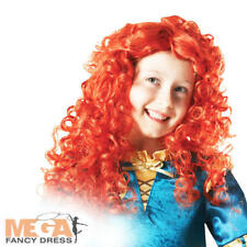 Girls Merida Wig Disney's Brave Fancy Dress Fairytale Red Head Costume Accessory