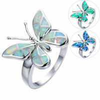 Lovely Butterfly Opal Crystal 925 Silver Women Wedding Engagement Rings Jewelry