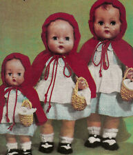 """Vintage Knitting PATTERN to make Doll Clothes 16"""" Red Riding Hood Cloak Dress"""