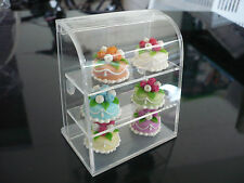 6 Round Cakes in Acrylic Table Top Display Unit Dollhouse Miniature Supply Deco