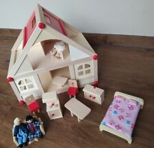 Puppenhaus aus Holz mit Puppen und Möbeln 2 Etagen Puppenstube