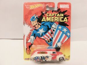 Hot Wheels - 1/64 - 38 Dodge Airflow Captain America   w / Real Riders