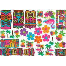 HAWAIIAN LUAU TIKI CUTOUT DECORATIONS (30) ~ Birthday Party Supplies Flamingo