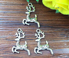 10pcs Christmas deer Tibetan Silver Bead charms Pendants DIY jewelry 20x14mm