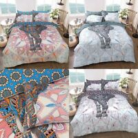 Elephant Mandala Duvet Cover Set Quilt Bedding Pillowcase Single Double King