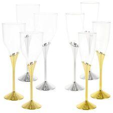 Plastic Wine Champagne Glasses Gold Silver Disposable Party Tableware Pub