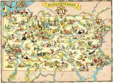 Canvas Reproduction, Pictorial Map of Pennsylvania Ruth Taylor 1935