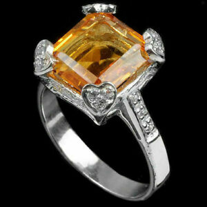 Ring Golden Yellow Genuine Natural Gem Solid Sterling Silver Size R 1/2 US 9