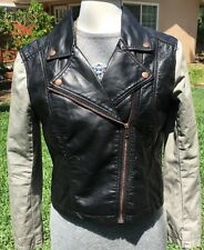 Women's H&M DIVIDED Black Faux Leather Cropped Moto Jacket Winter Size 10