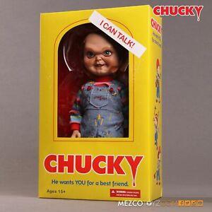 "CHILD'S PLAY - TALKING EVIL FACE CHUCKY 15"" Mega scale figure w/sound (MEZCO)"