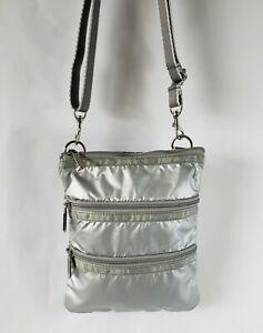 LeSportsac 3 Zipper Small Crossbody Nylon Purse Bag Metallic Silver
