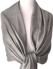 Grey Pashmina Fair Trade Scarf Ladies Pewter Tone Shawl Wrap Wedding Bridesmaid