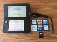 Nintendo 3DS XL Red & Black Handheld System Console Bundle +6 Games & Charger