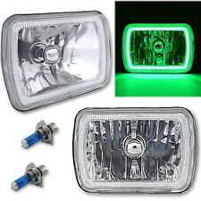 "7X6"" Plasma Green COB LED Glass/Metal Headlight 60w H4 Light Bulb Headlamp Pair"