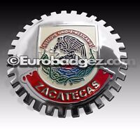 1 - NEW Chrome Front Grill Badge Mexican Flag Spanish MEXICO MEDALLION ZACATECAS