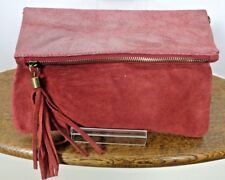 Italian Real Suede and Leather Clutch/Cross Body Convertible Bag - Red