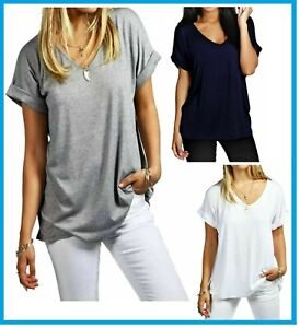 Women Ladies Oversized Baggy Loose Fit Turn up Batwing Sleeve V Neck T shirt Top