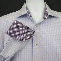 English Laundry Lavender Blue Plaid Shirt Flip Cuff Mens L 16 100% Cotton