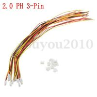 Set of 10 Mini Micro PH 2.0 3-Pin JST Connector Plug With Wires Cables 300mm