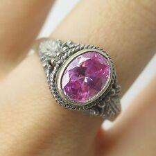 Vtg 925 Sterling Silver Real Pink Amethyst Gemstone Floral Ring Size 8