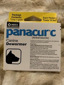 Panacur C Canine 1 Gram Dewormer Treatment 3-pack EXP 08/2022