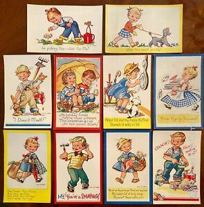 10 x Mollie Grey vintage retro postcards 1960's