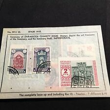 1915 Spain Postage Stamps Charity Issue on Old Scott Sheet Lot of 7