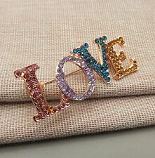 Fashion Women's Multi-Color Crystal Love Betsey Johnson Brooch Pin
