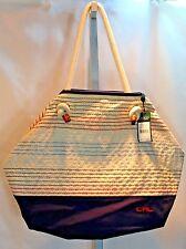 Ralph Lauren Canvas Tote Casco Beach Red White Blue Stripe Bag MSRP $98 Cruise