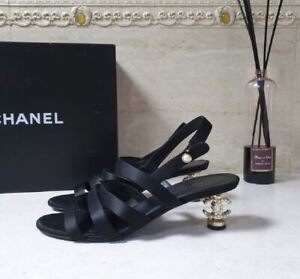 Chanel Satin Pearl CC Heeled Sandals Size 39