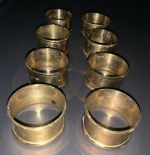 Vintage 8 Bronze Gold Metal Napkin Ring Holders (Set of 8)
