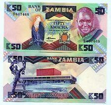 Zambia P28 50 Kwacha UNC 1986 Banknote Paper Money