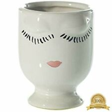 """Small Ceramic Celfie Face Floral Vase - 3.5"""" Tall X 2.75"""" Wide Home Kitchen"""