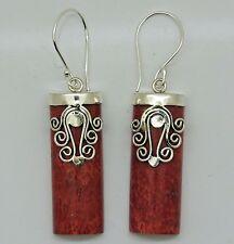 Balinese 925 Sterling Silver & Red Coral Gemstone Earrings, Tribal Jewellery