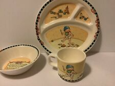 Vintage Mary Engelbreit 3 Piece Melamine Child's Dishes Plate Bowl Cup
