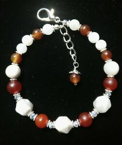 Handmade Red & White Crazy Lace Agate  Natural Stone Bracelet  Valentine's Gift
