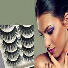 5 Pairs/Set Blue+Black Long Thick Cross False Eyelashes Eye Lashes Extension New