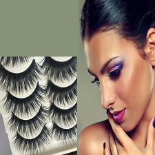 5 Pairs Natural Long Blue Black Eye Lashes Makeup Handmade Thick False Eyelashes