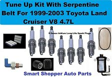 Tune Up with Serp Belt For Toyota Land Cruiser V8 Spark Plug Air Oil Fuel Filter