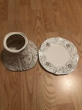 YANKEE CANDLE SILVER/WHITE SNOWFLAKE CANDLE JAR SHADE & PLATE SET HOLIDAY DECOR