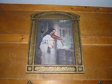 Vintage Art Products Wood Cathedral Window Frame with Nun Playing Violin Picture